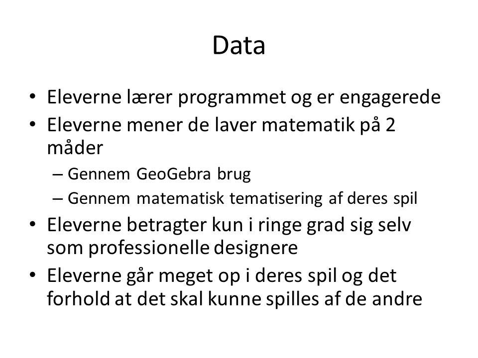 Data Eleverne lærer programmet og er engagerede