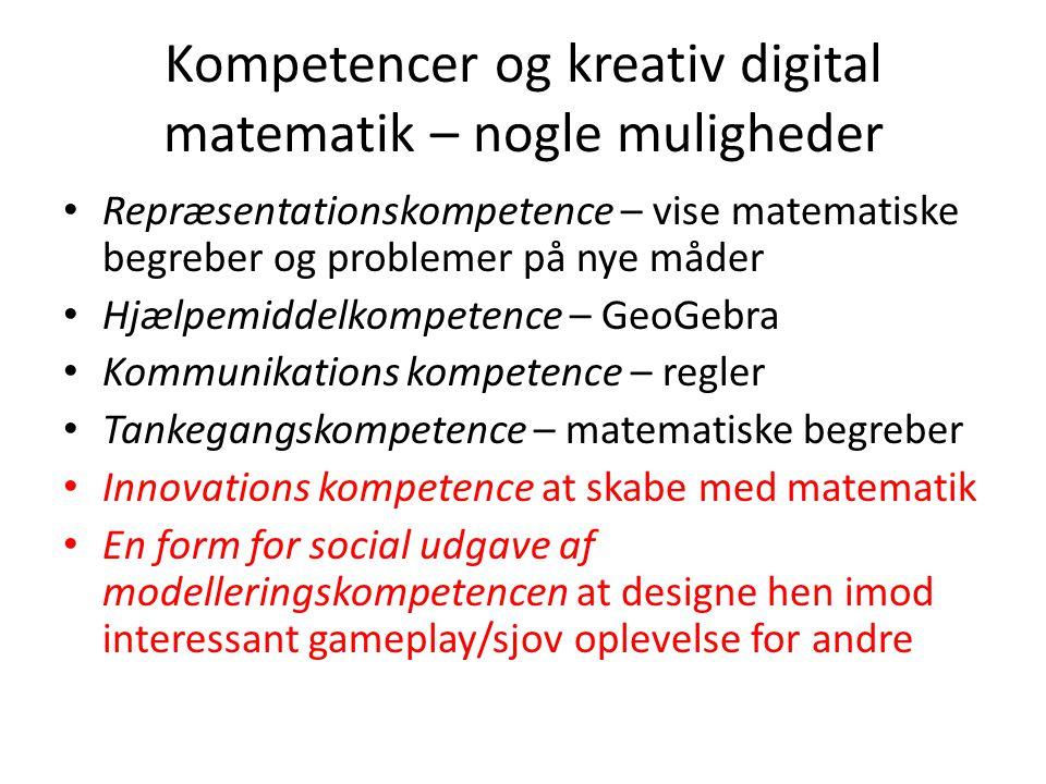 Kompetencer og kreativ digital matematik – nogle muligheder