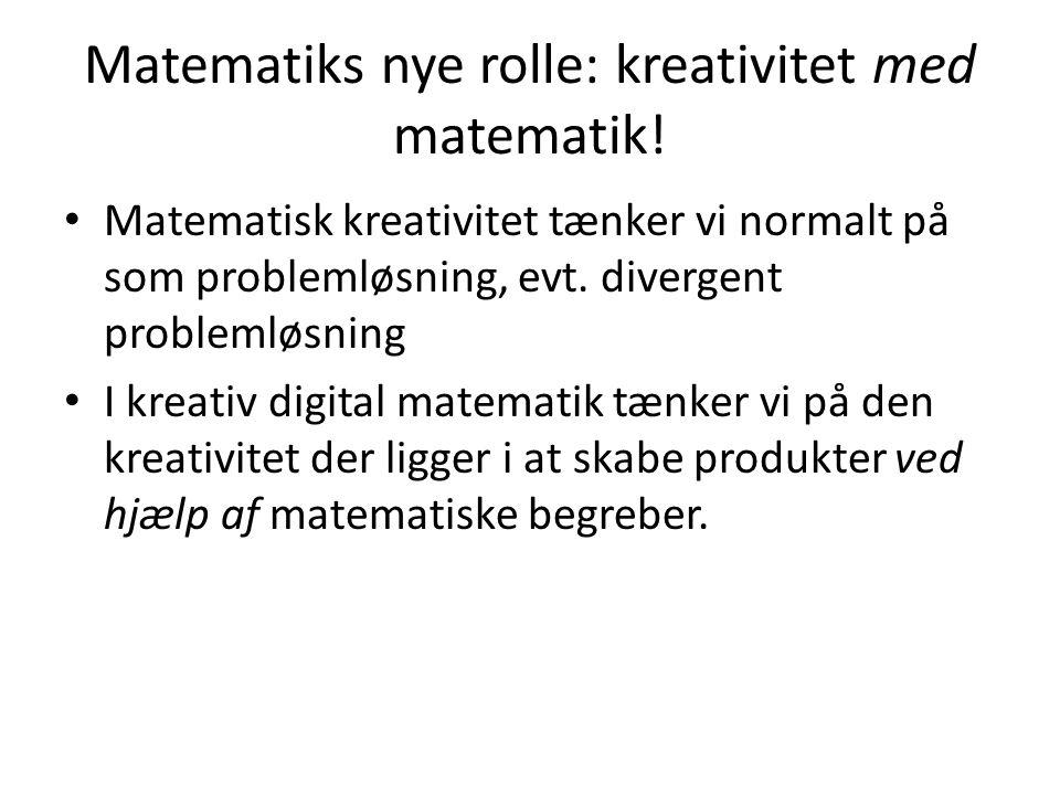 Matematiks nye rolle: kreativitet med matematik!