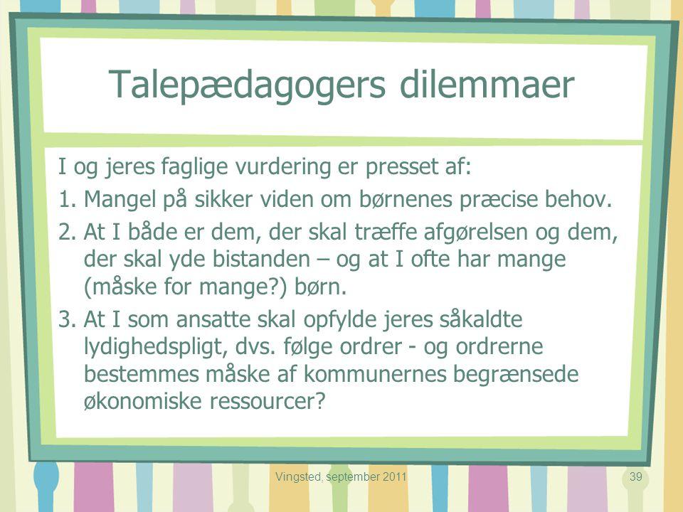 Talepædagogers dilemmaer