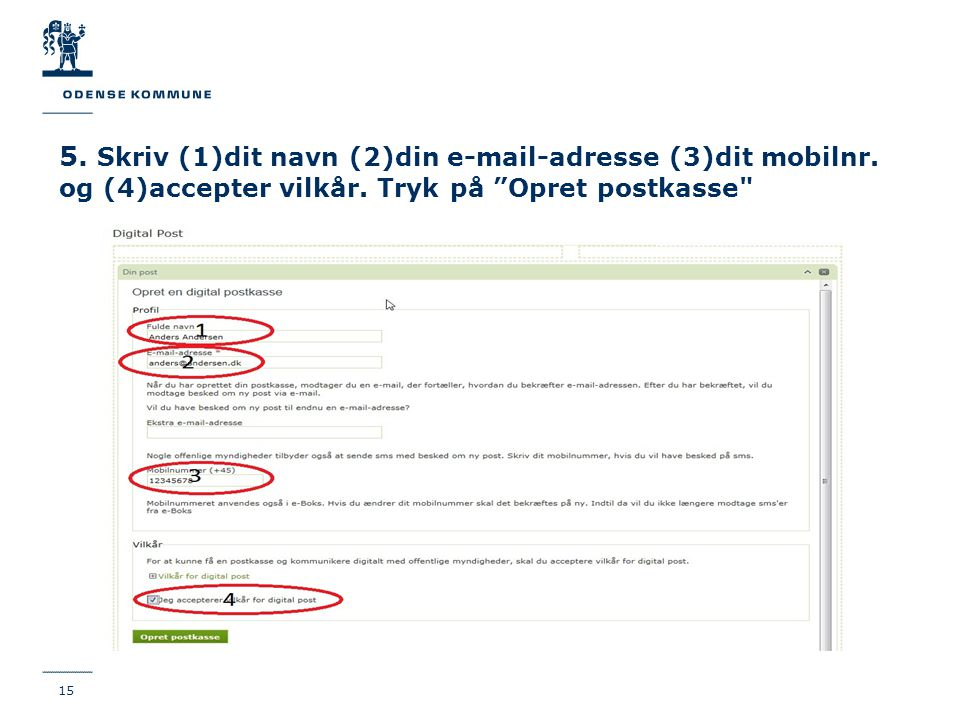 5. Skriv (1)dit navn (2)din e-mail-adresse (3)dit mobilnr