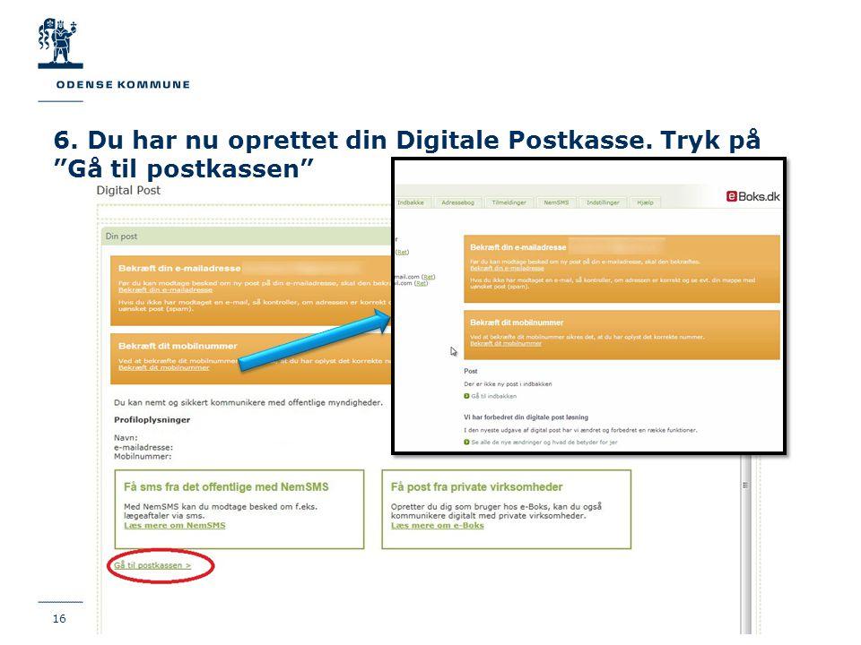 6. Du har nu oprettet din Digitale Postkasse