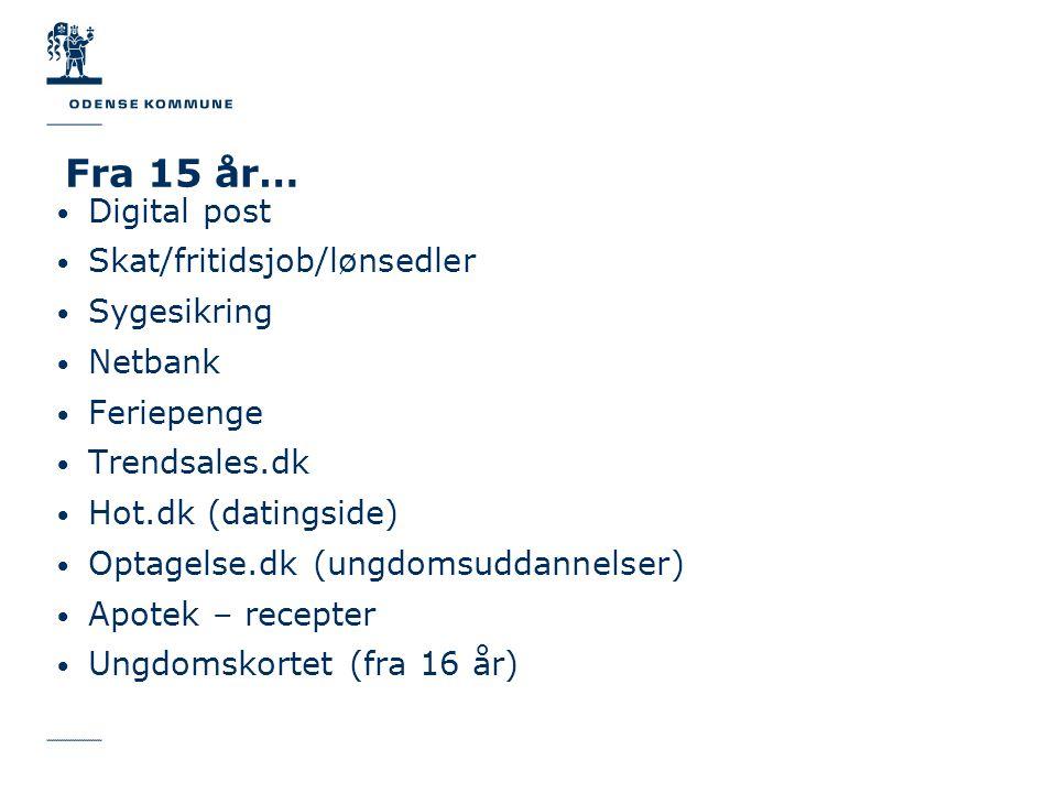 Fra 15 år… Digital post Skat/fritidsjob/lønsedler Sygesikring Netbank
