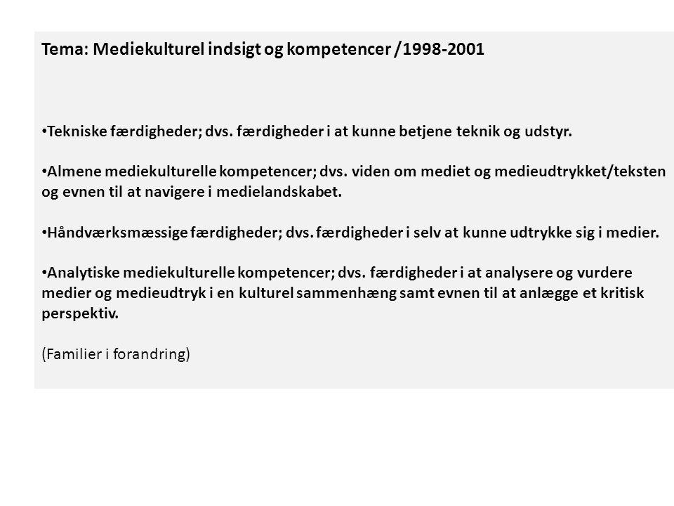 Tema: Mediekulturel indsigt og kompetencer /1998-2001