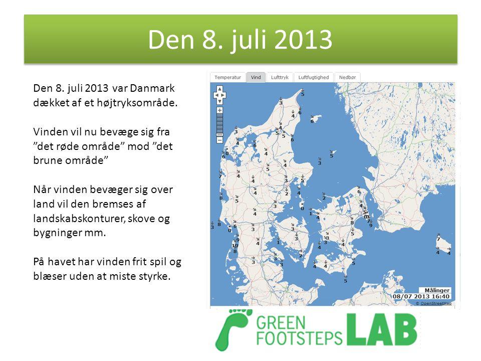 Den 8. juli 2013 Den 8. juli 2013 var Danmark dækket af et højtryksområde. Vinden vil nu bevæge sig fra det røde område mod det brune område