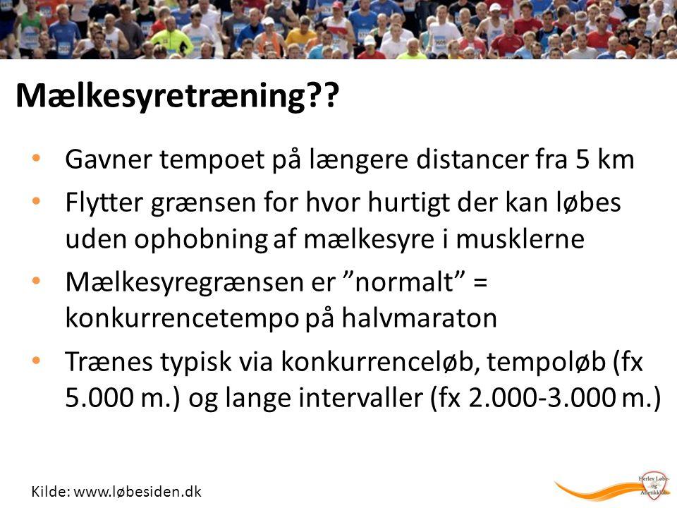Mælkesyretræning Gavner tempoet på længere distancer fra 5 km