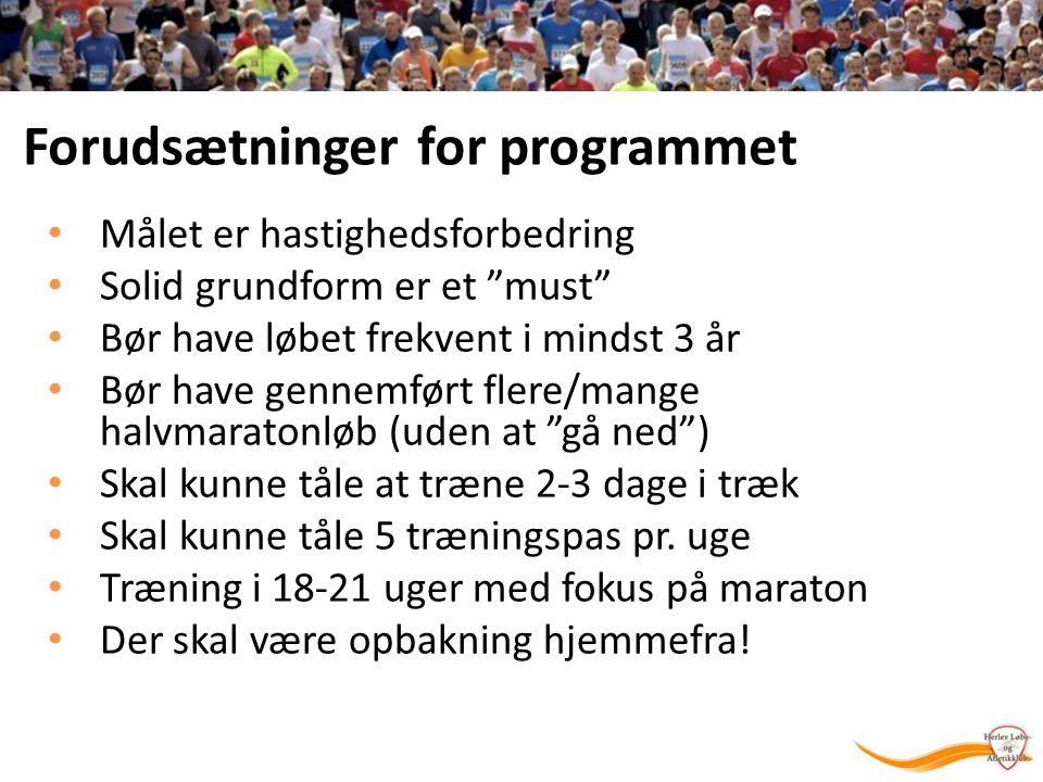 Forudsætninger for programmet