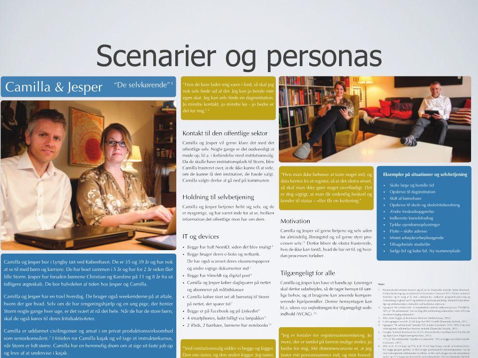 Scenarier og personas Scenarier fortæller i alm. Sprog, hvad brugene skal kunne på hjemmesiden/i systemet.