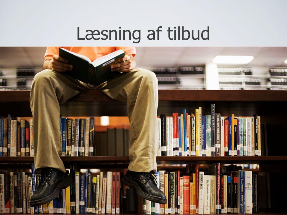 Læsning af tilbud Udarbejd en læsevejledning