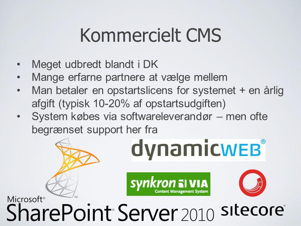 Kommercielt CMS Meget udbredt blandt i DK