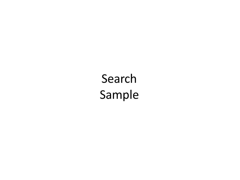 Search Sample