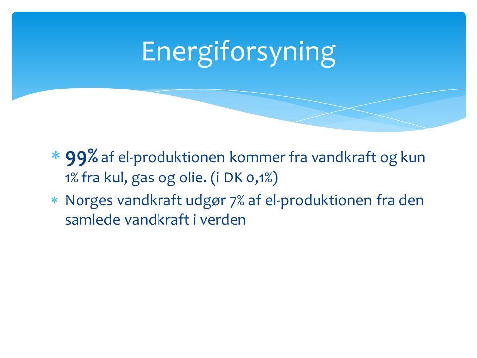 Energiforsyning 99% af el-produktionen kommer fra vandkraft og kun 1% fra kul, gas og olie. (i DK 0,1%)