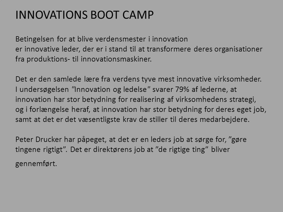 INNOVATIONS BOOT CAMP Betingelsen for at blive verdensmester i innovation.