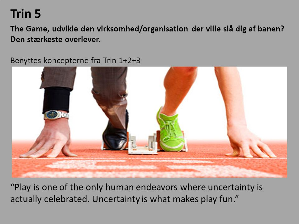 Trin 5 The Game, udvikle den virksomhed/organisation der ville slå dig af banen Den stærkeste overlever.