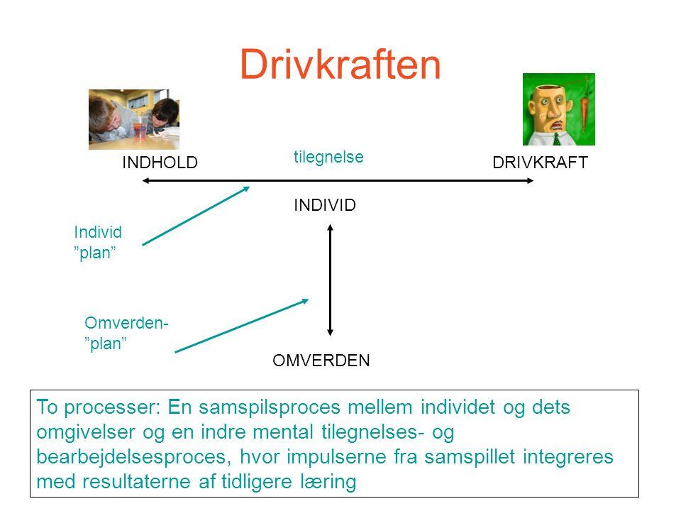 Drivkraften tilegnelse. INDHOLD. DRIVKRAFT. INDIVID. Individ plan Omverden- plan OMVERDEN.