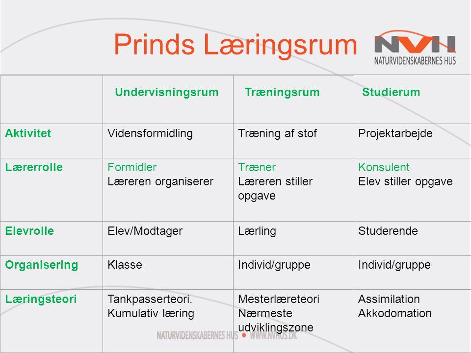 Prinds Læringsrum Aktivitet Vidensformidling Træning af stof