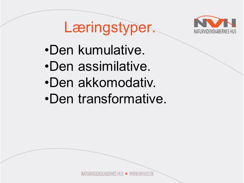 Læringstyper. Den kumulative. Den assimilative. Den akkomodativ.
