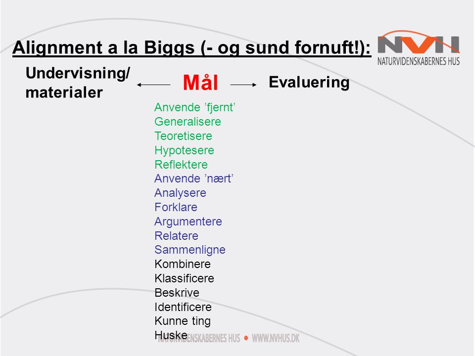 Mål Alignment a la Biggs (- og sund fornuft!): Undervisning/