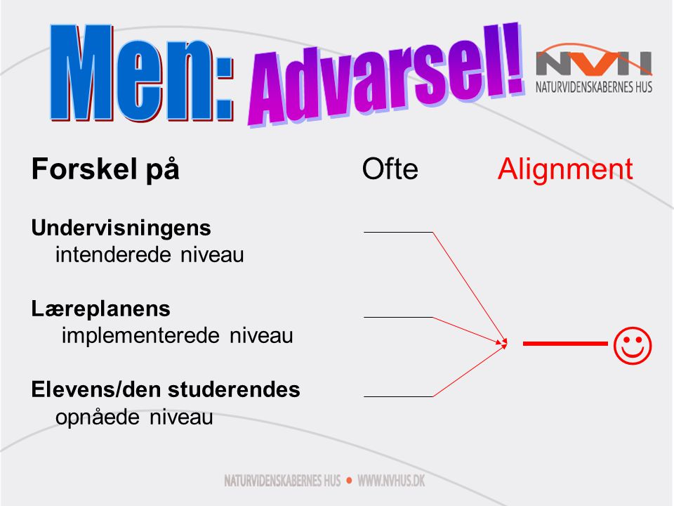  Advarsel! Men: Forskel på Ofte Alignment Undervisningens