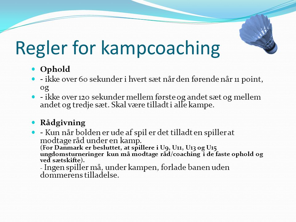 Regler for kampcoaching