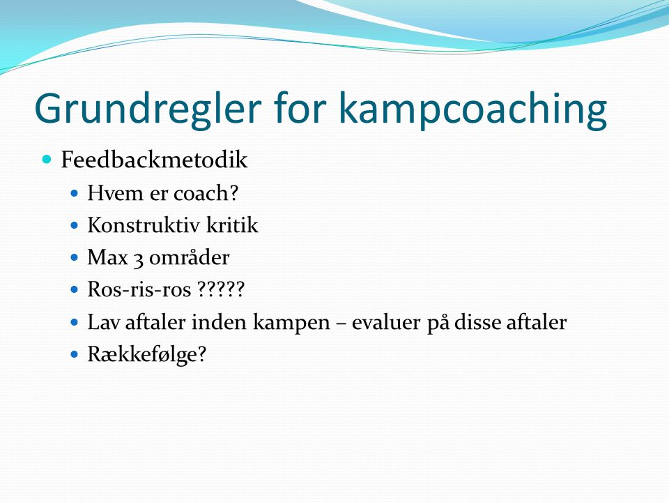 Grundregler for kampcoaching