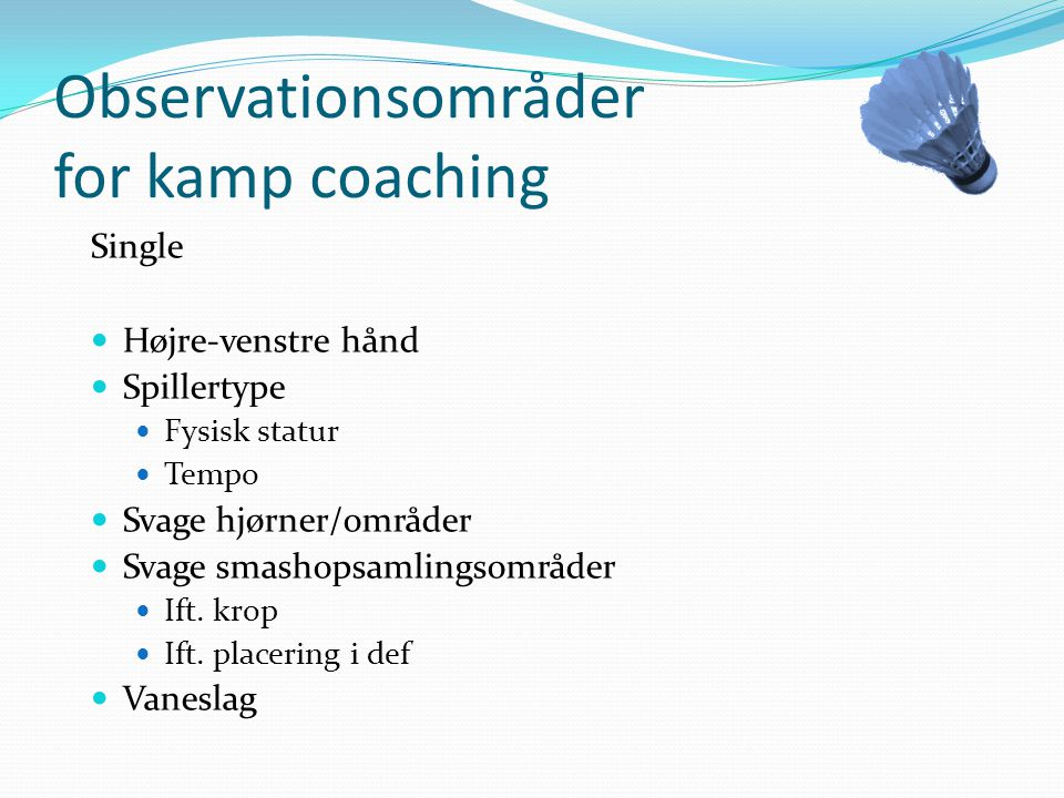 Observationsområder for kamp coaching