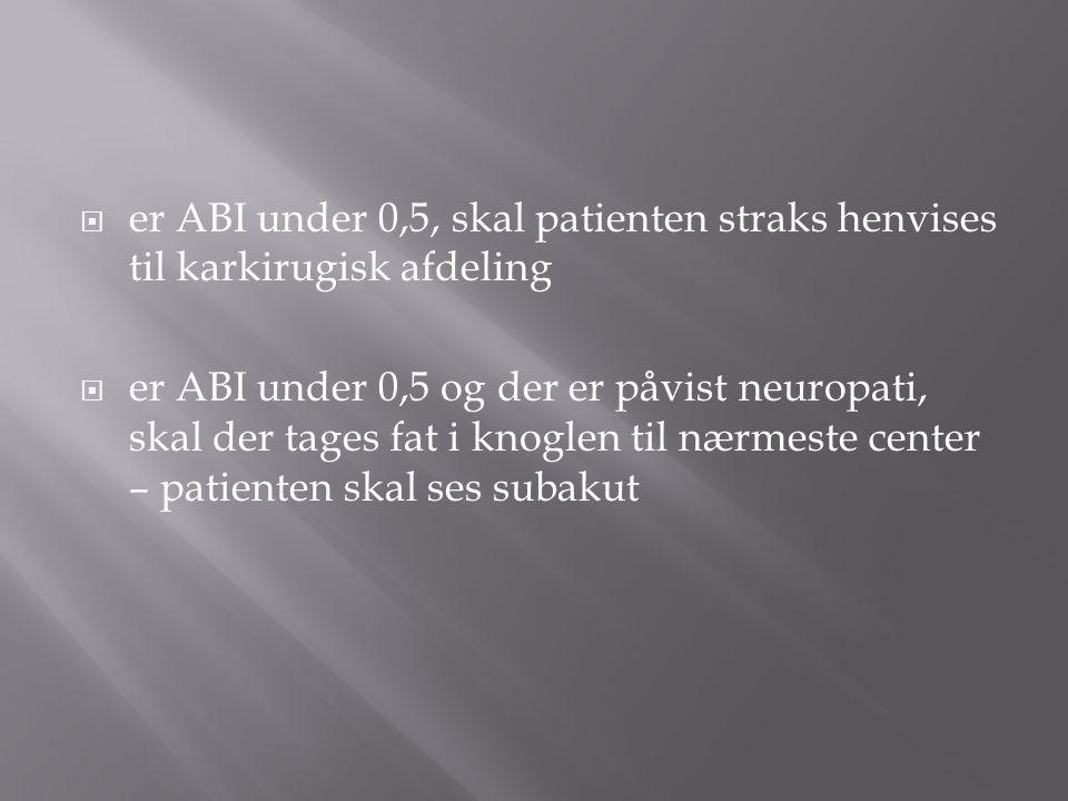 er ABI under 0,5, skal patienten straks henvises til karkirugisk afdeling