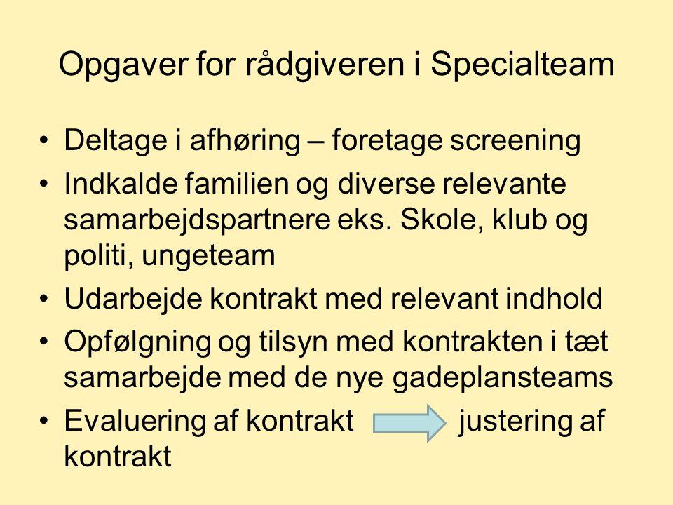 Opgaver for rådgiveren i Specialteam