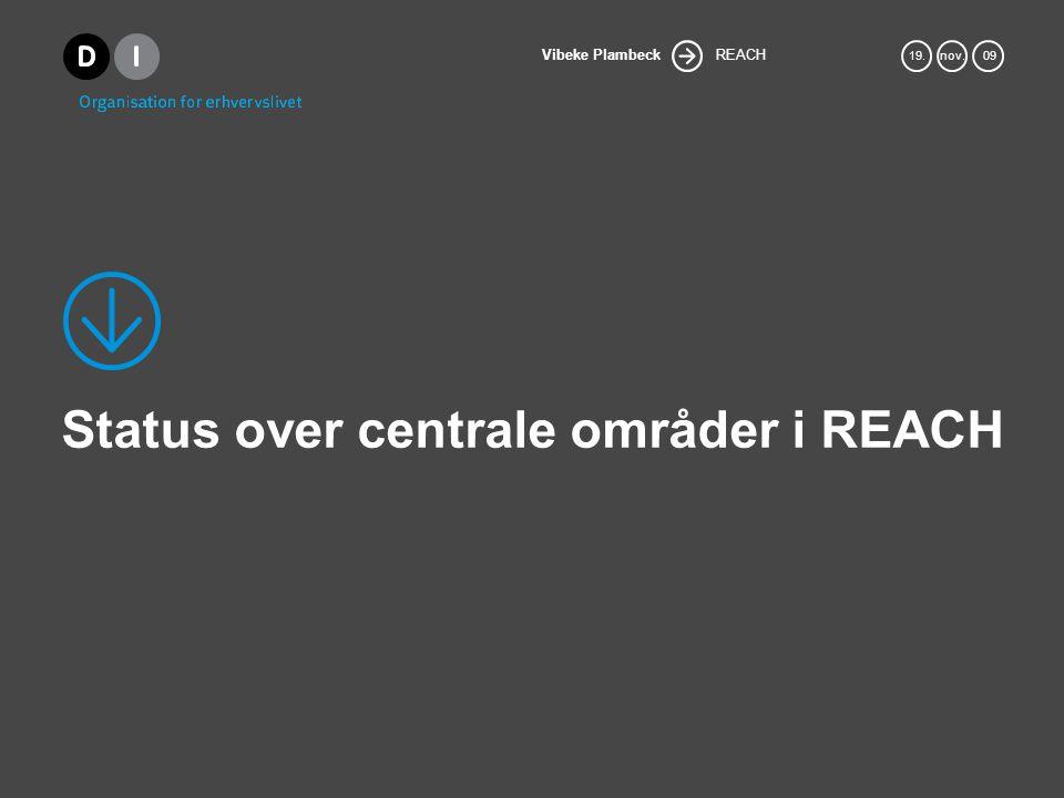 Status over centrale områder i REACH