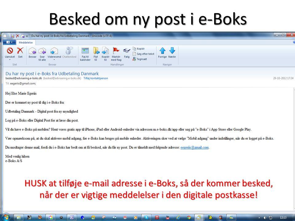 Besked om ny post i e-Boks