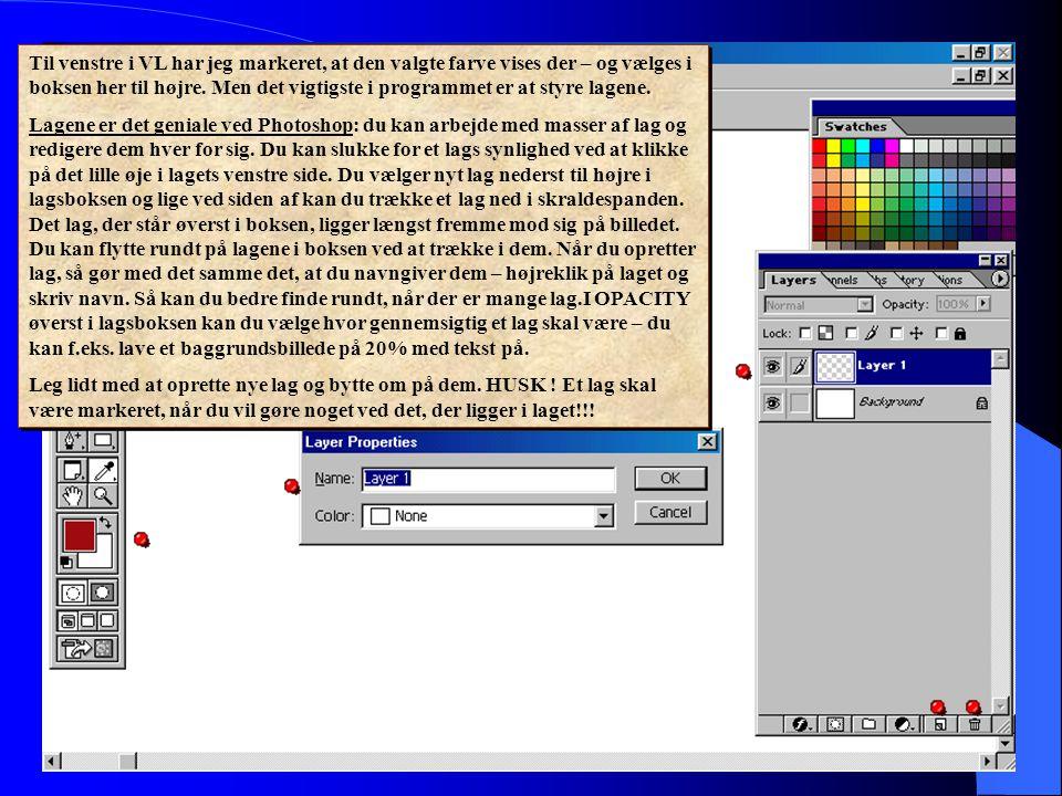Til venstre i VL har jeg markeret, at den valgte farve vises der – og vælges i boksen her til højre. Men det vigtigste i programmet er at styre lagene.