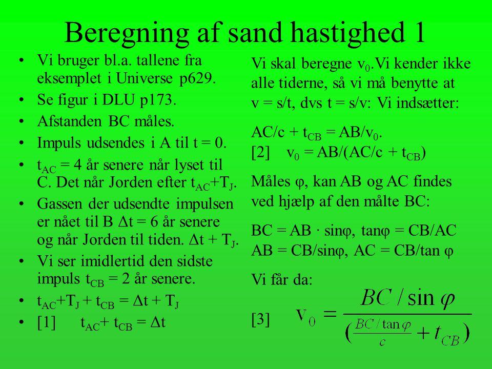 Beregning af sand hastighed 1