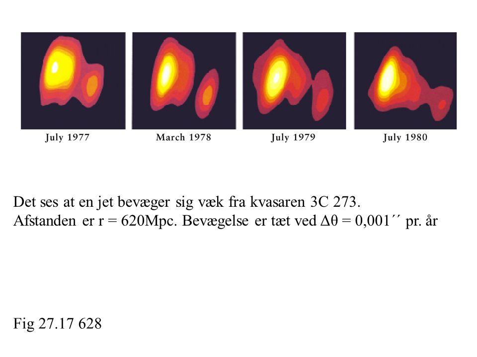 Det ses at en jet bevæger sig væk fra kvasaren 3C 273.