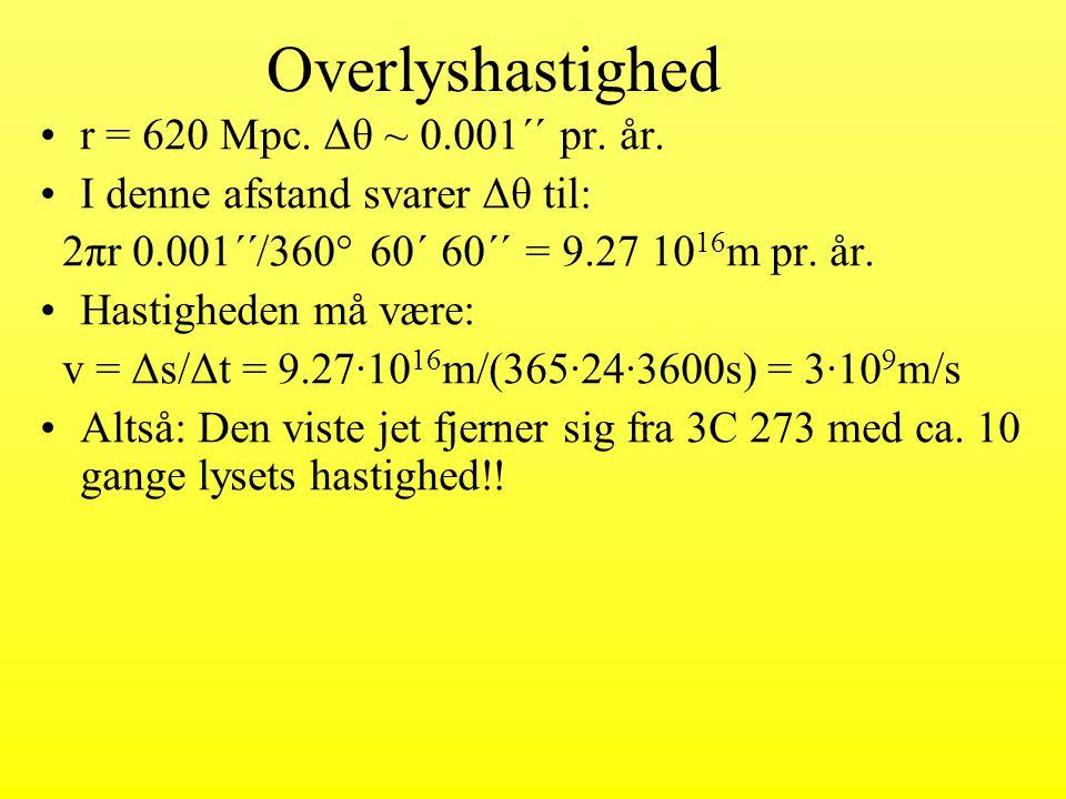 Overlyshastighed r = 620 Mpc. Δθ ~ 0.001´´ pr. år.