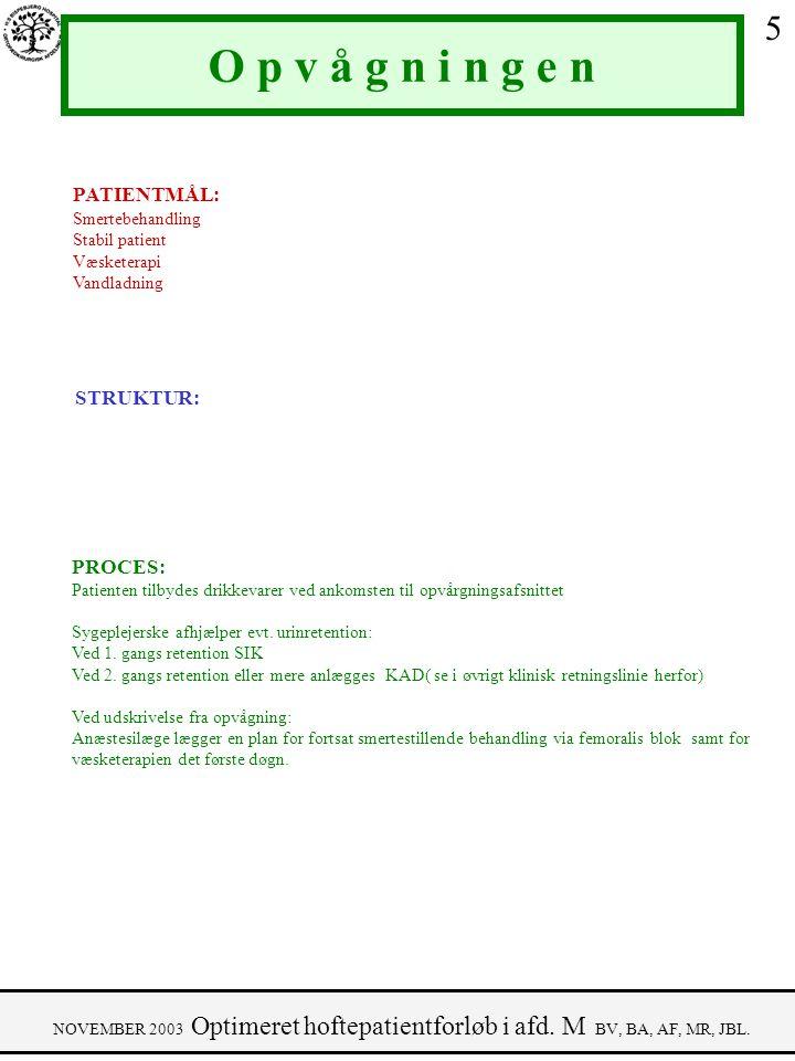 O p v å g n i n g e n 5 PATIENTMÅL: STRUKTUR: PROCES: Smertebehandling