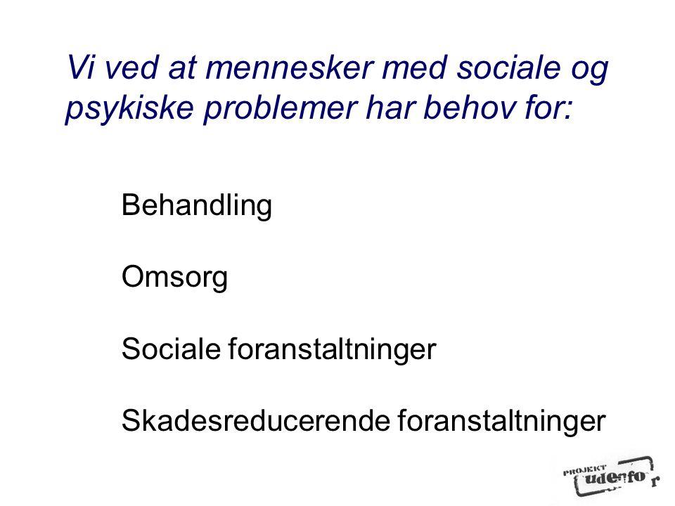 Vi ved at mennesker med sociale og psykiske problemer har behov for: