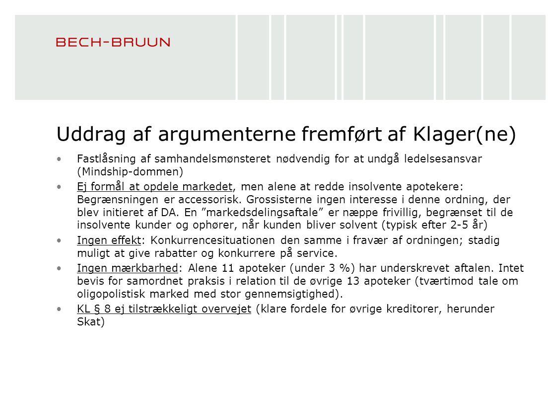 Uddrag af argumenterne fremført af Klager(ne)