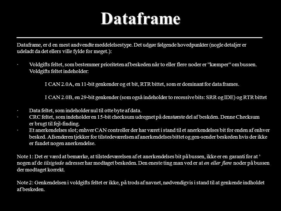 Dataframe Dataframe, er d en mest andvendte meddelelsestype. Det udgør følgende hovedpunkter (nogle detaljer er.