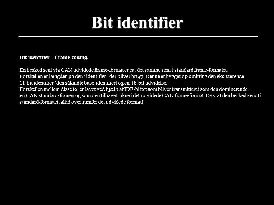 Bit identifier Bit-identifier – Frame-coding.