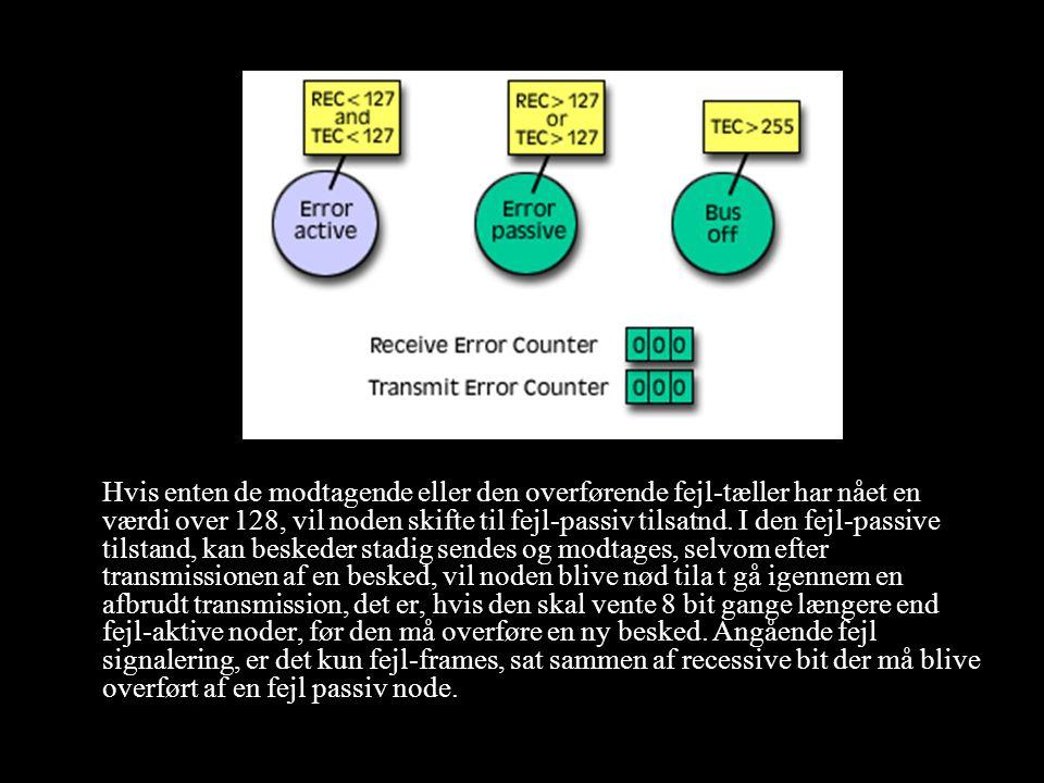 Hvis enten de modtagende eller den overførende fejl-tæller har nået en værdi over 128, vil noden skifte til fejl-passiv tilsatnd.