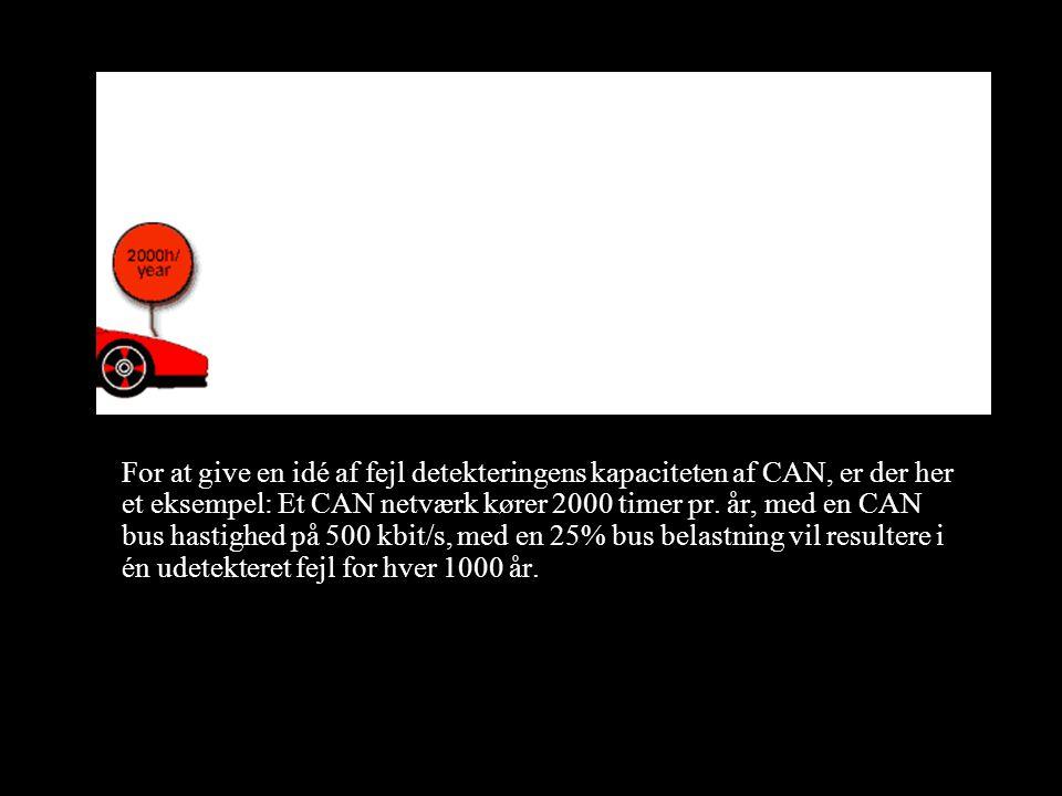 For at give en idé af fejl detekteringens kapaciteten af CAN, er der her et eksempel: Et CAN netværk kører 2000 timer pr.