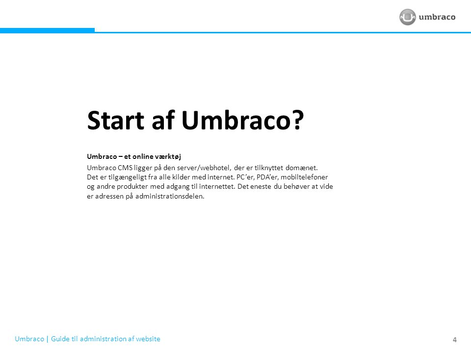 Start af Umbraco