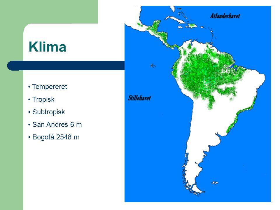 Klima Tempereret Tropisk Subtropisk San Andres 6 m Bogotá 2548 m