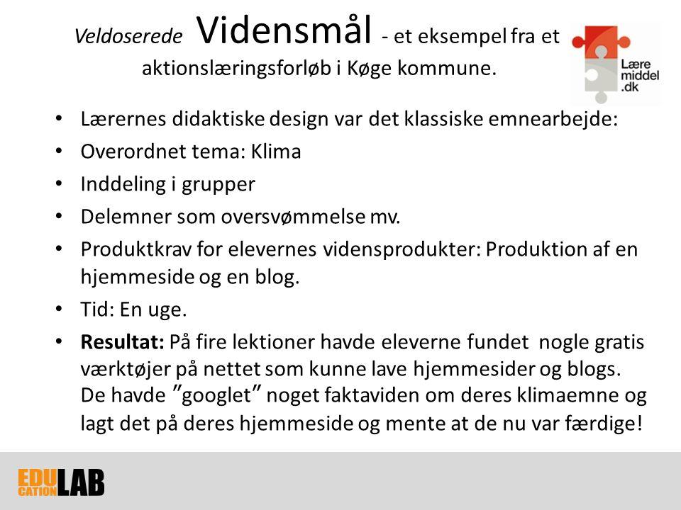 Veldoserede Vidensmål - et eksempel fra et aktionslæringsforløb i Køge kommune.