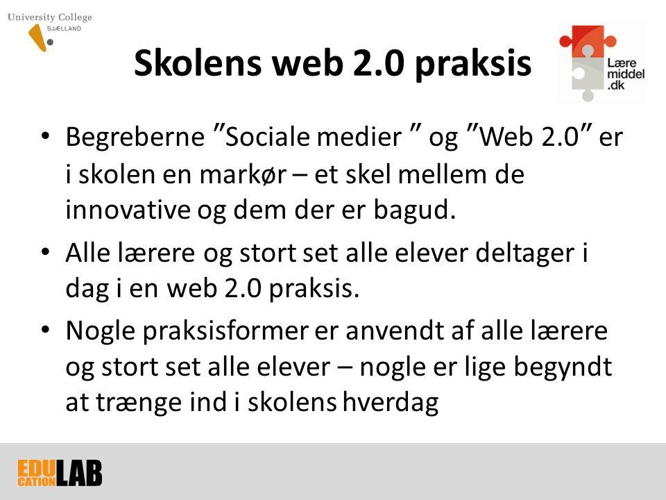 Skolens web 2.0 praksis Begreberne Sociale medier og Web 2.0 er i skolen en markør – et skel mellem de innovative og dem der er bagud.