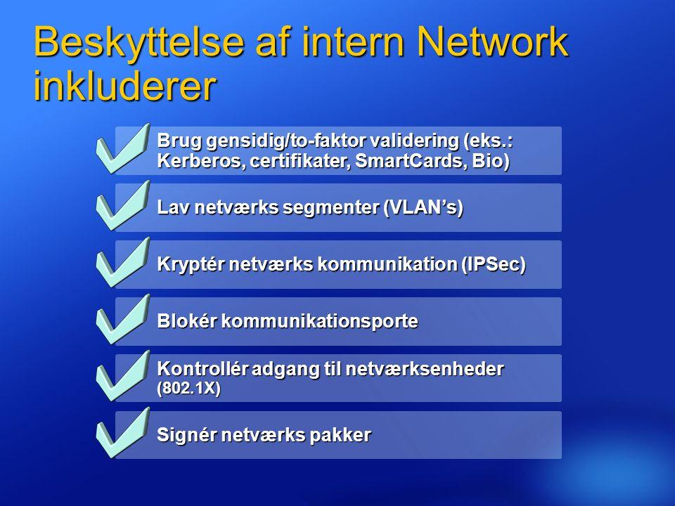 Beskyttelse af intern Network inkluderer