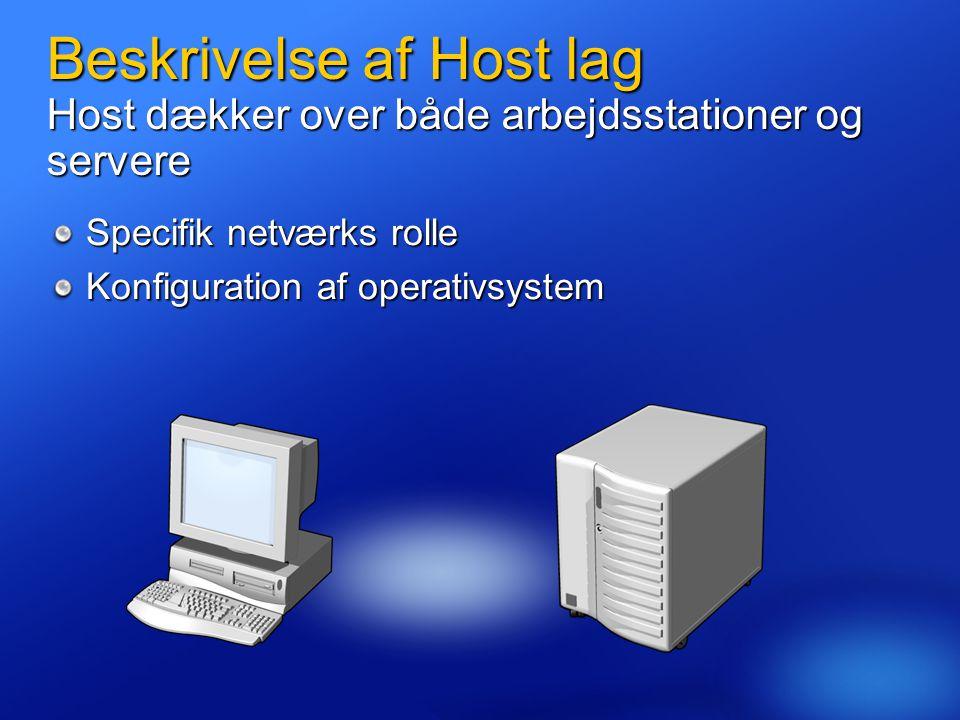 4/3/2017 2:25 AM Beskrivelse af Host lag Host dækker over både arbejdsstationer og servere. Specifik netværks rolle.