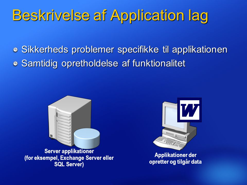 Beskrivelse af Application lag