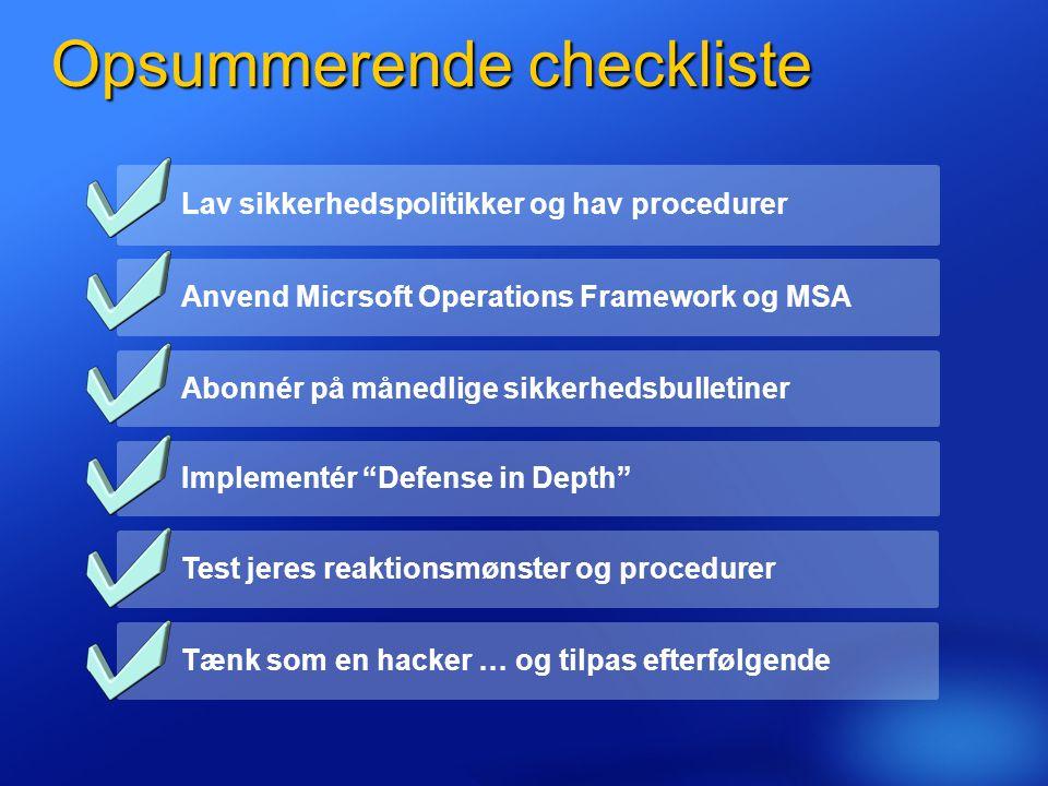 Opsummerende checkliste