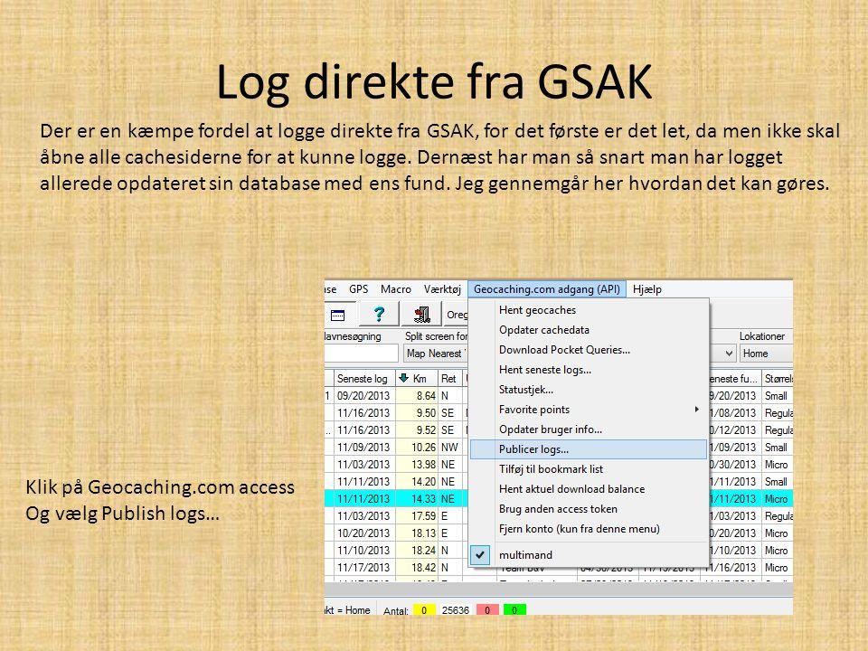 Log direkte fra GSAK